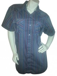 Mesquite Niver Western Wear Button Down Shirt Gray with teal, green, yellow, red and black strips
