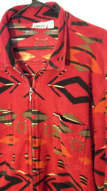 Chico's Sweater Native Aztec Printed Zipper Chico Winter Warm red Jacket