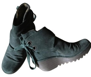 FLY London Bottle Green Suede Boots