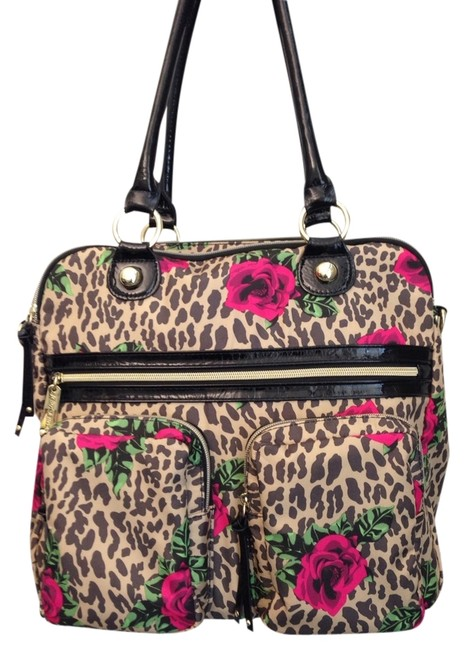 Item - Leopard Tan with Pink Roses Nylon Tote