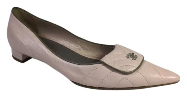 Item - Pink Quilted Leather Pointed Flats Size US 8.5