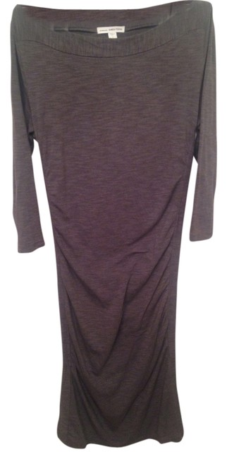 Item - Grey Striped Boatneck Charcoal - (Small) Mid-length Casual Maxi Dress Size 4 (S)