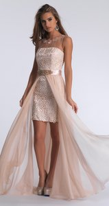 Dave & Johnny Illusion Short Lace Prom Dress