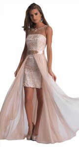 Dave & Johnny Illusion Short Lace Prom Homecoming Dress