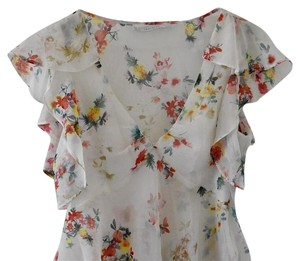 Zara Festival Watercolor Flowy Sheer Top floral