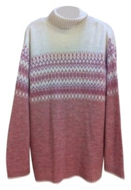 Preload https://img-static.tradesy.com/item/17603/fashion-bug-pinkmauvewhite-turtleneck-long-warm-sweaterpullover-size-16-xl-plus-0x-0-0-650-650.jpg