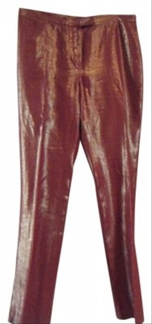 Kenneth Cole Straight Pants Reddish/Rust with Gold overlay
