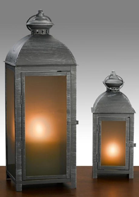 Item - Brushed Gray Metal & Frosted Glass 10 Lanterns - Never Been Used Nautical Beach Decor Votive/Candle