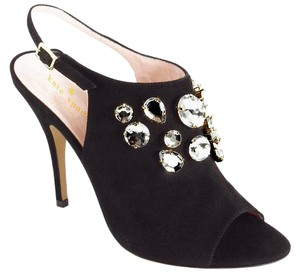 Kate Spade Crystal Suede Leather Embellished Black Sandals