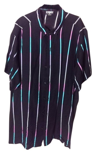 kudos Button Down Shirt black with colored stripes