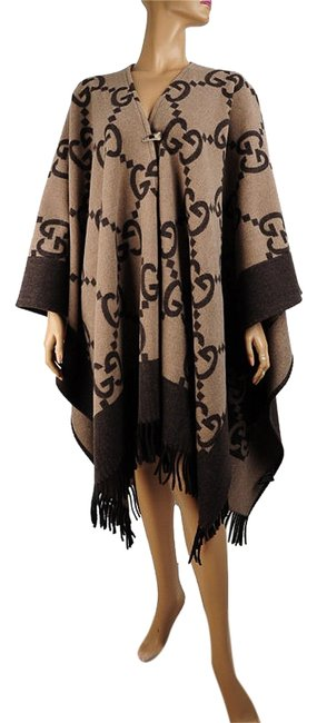 Item - Brown/Tan ssima Pattern Cashmere Poncho/Cape Size OS (one size)