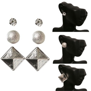 New Set of 3 Silver Stud Post Earrings