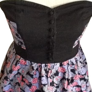 Kimchi Blue short dress Purple Strapless Floral Print Floral Buttons on Tradesy