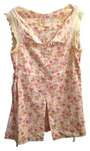 Free People Top Cream & Pink Floral