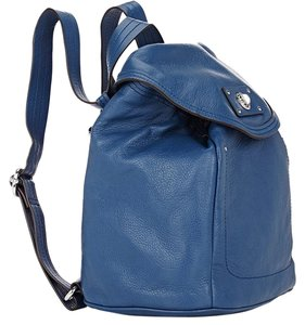 Marc by Marc Jacobs Totally Turnlock Blue Pebbled Leather Backpack