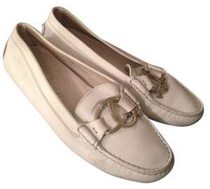 Tod's Drivers White Leather Flats