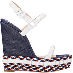 Christian Louboutin white blue Wedges