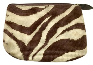 Clever Carriage Company Zebra Needlepoint Sale brown/ivory Clutch
