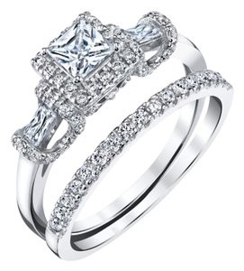 crystallized 18K White Gold over Sterling Silver Vintage Princess-Cut Cubic Zirconia Engagement Ring & Band - Size 8