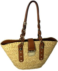Michael Kors Beach Tote in Straw with Brown Leather / Gold Hardware
