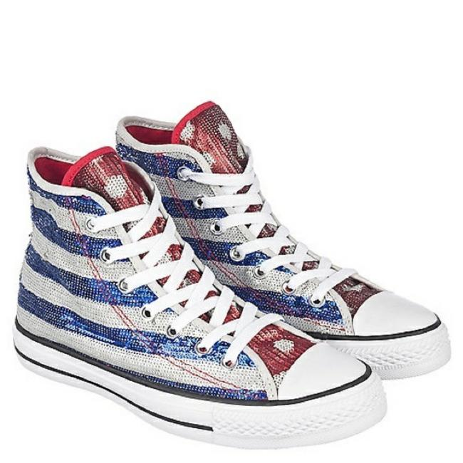 Item - Silver/Blue/Red Sequin Sneakers Size US 8 Regular (M, B)