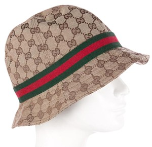 d567f457 Gucci Brown, beige GG Guccissima monogram print Gucci Web logo bucket hat