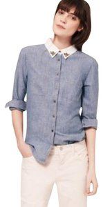 Ann Taylor LOFT Button Down Shirt Blue, White, Gray
