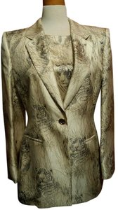 Escada Exotic Silk Unique Elegant Gold animal print Blazer