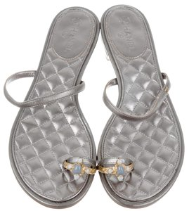 Chanel Quilted Hardware Silver, Gold Sandals