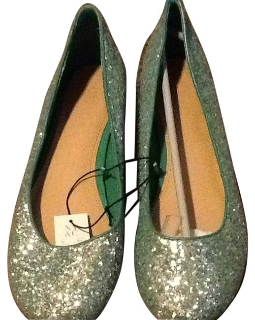 Item - Green Sparkle Flats Size US 10 Regular (M, B)