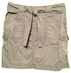 Ann Taylor LOFT Chino Cargo Pockets Mini Skirt Khaki