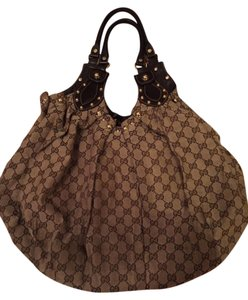 Gucci Studded Monogram Hobo Bag