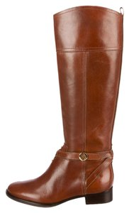 Tory Burch Kiernan Leather Tall Logo Gold Gold Hardware Riding Round Toe Brown Boots