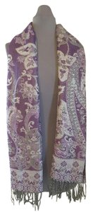 F.C Purple & Silver Floral - Paisley Scarf