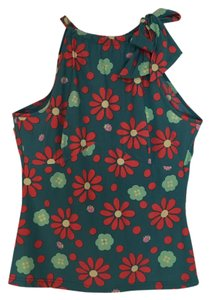 Fendi Top Teal with coral, light green yellow flowers