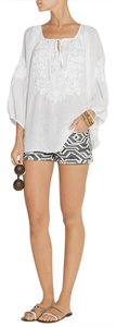 Melissa Odabash Melissa Odabash white peasant top with tonal embroidery. Tassle ties