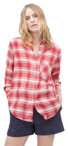 Zara Plaid Checked Button Down Shirt red and white