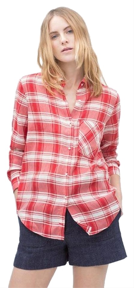 Zara Red And White Women 39 S Check Shirt With Pocket Button