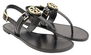 Tory Burch Calf Leather Flat Thong Black Sandals