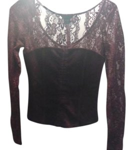 Moda International Lace Corset Top Wine