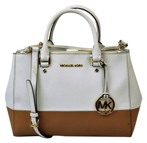 Michael Kors Leather Color Block Satchel in White/Beige