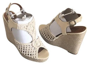 Lucky Brand Natural macrame-lt canvas Wedges