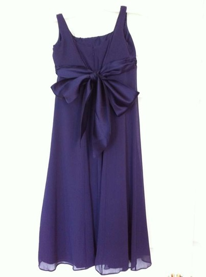 David's Bridal Lapis (Eggplant Purple) Chiffon Sleeveless Crinkle A-line Style Jb3115 Formal Bridesmaid/Mob Dress Size 10 (M)