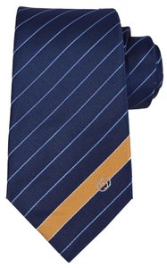 Gucci NEW Gucci Men's 408866 Blue Gold Woven Silk Interlocking GG Striped Neck Tie