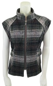 CAbi Plaid Full-zip Wool Vest