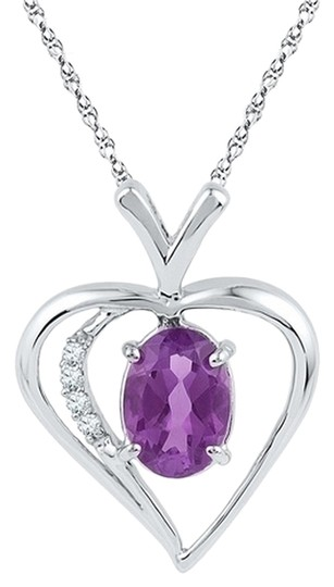 "Other 18"" Ladies Luxury Designer 10k White Gold 0.75 Cttw Diamond & Amethyst Gemstone Pendant Fashion Necklace By BrianGdesigns"