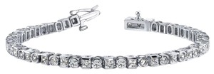 Avi and Co 6.00 cttw Round and Princess Cut Diamond Bezel Tennis Bracelet 14K White Gold
