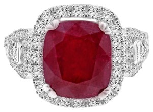 Avi and Co 10.06 cttw Cushion Shape Ruby & Round Diamond Halo Ring 18K White Gold