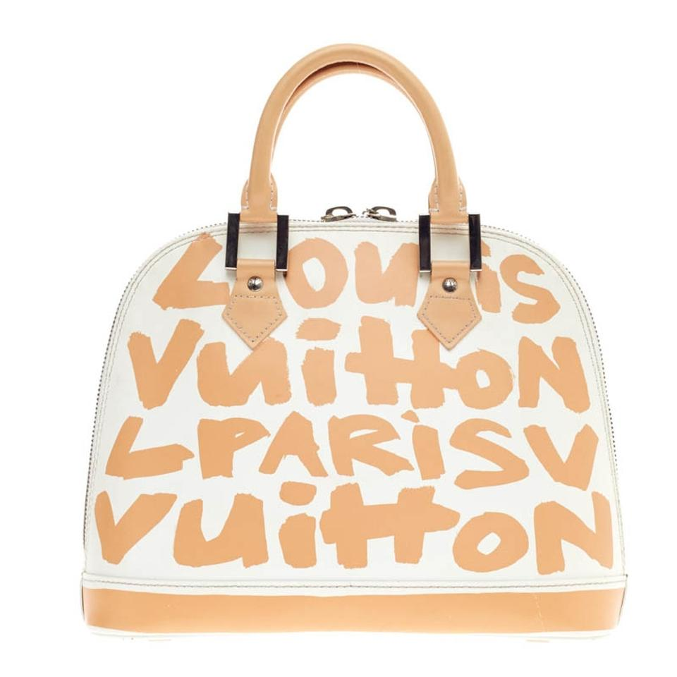 Louis Vuitton Alma Limited Edition Graffiti Mm White Beige Leather Satchel 1ade2a7a10b0e