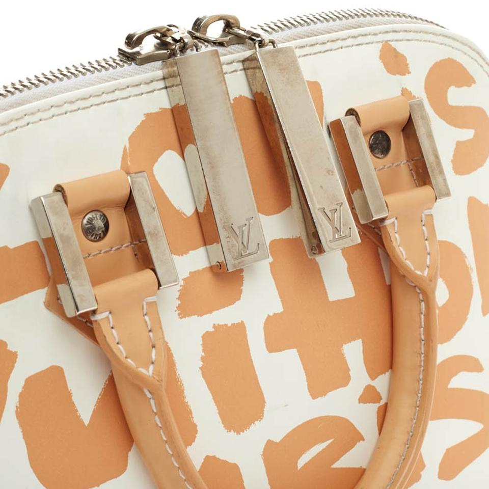 Louis Vuitton Alma Limited Edition Graffiti Mm White Beige Leather ... 6203abcb54375